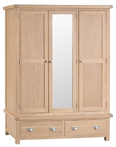 Oxford Oak Triple Wardrobe With Drawers